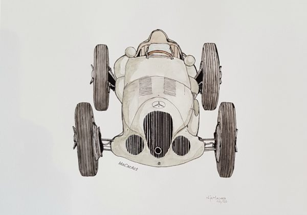 Limited Edition Water Colour Wash Print Mercedes W125