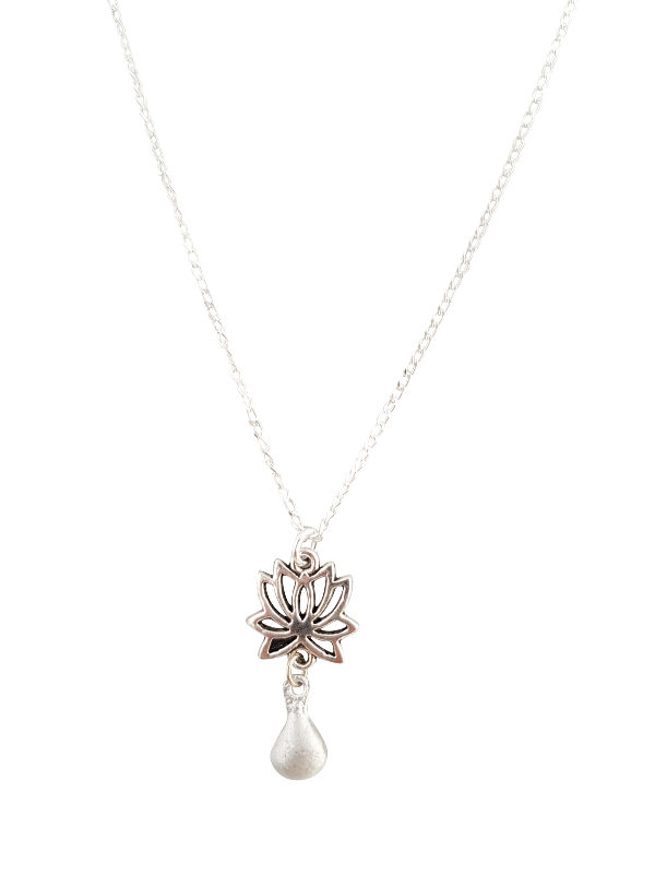 Lotus & Tear Drop Necklace