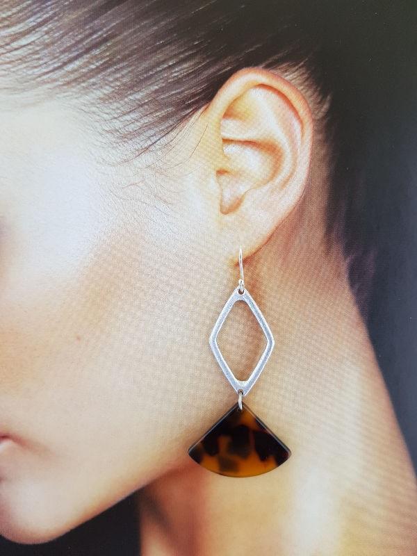 Diamond & Tortoiseshell Resin Earrings